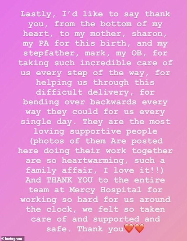 Grateful: Jackie thanked her for all those involved in Farrah's birth and described it as a `` difficult delivery ''
