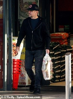 Casual: Matt wore a black hoodie and dark jeans with a navy t-shirt
