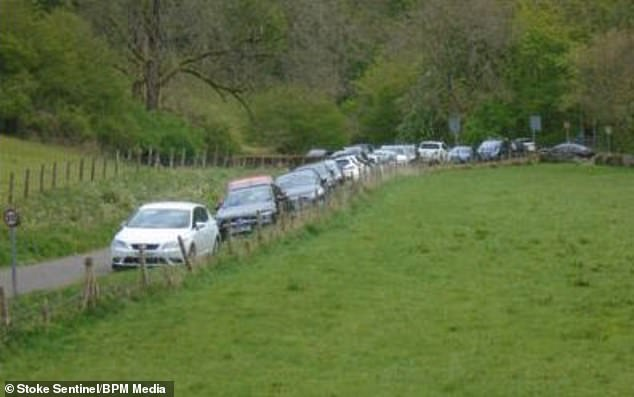 Queues of parked cars near the Peak District, as the beauty spot becomes busier during the hot weather and plagued by piles of rubbish, ahead of the bank holiday weekend. Monday is forecast to see temperatures up to 79F (26C)