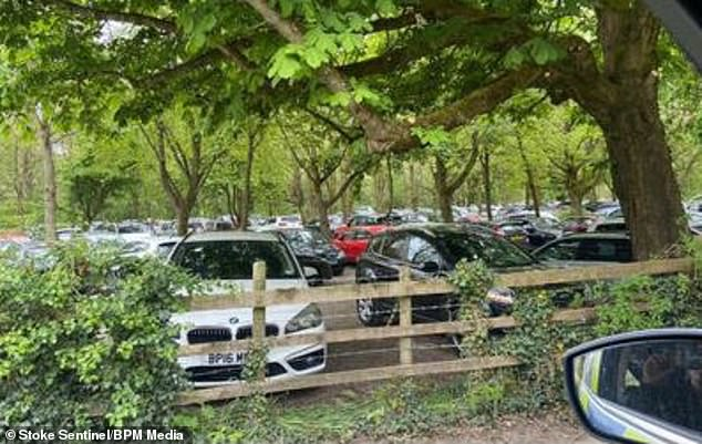 Masses of cars parked near the Peak District. Meanwhile, in the Manifold Valley, a huge amount of litter and charred barbecues were left behind by visitors last weekend