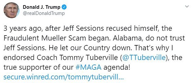 President Trump is voicing his support for Tommy Tuberville who is running against former Attorney General Jeff Sessions who is facing a tough senate race