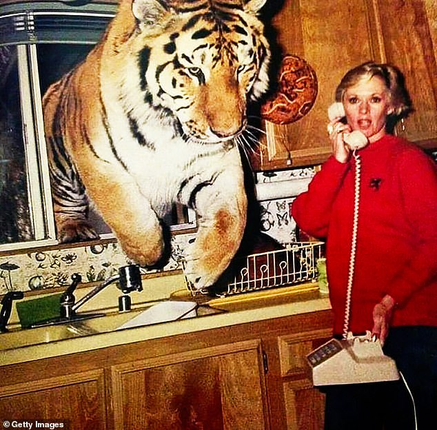 Unbelievable:Norton shared a famous photo of an enormous tiger jumping into Hedren's kitchen through the window while she was made a phone call