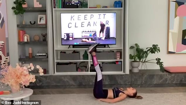 Super fit locked out: Meanwhile, Rebecca shared her grueling 20-minute workout at home on Instagram, admitting that she is not a fan of sudden jumps