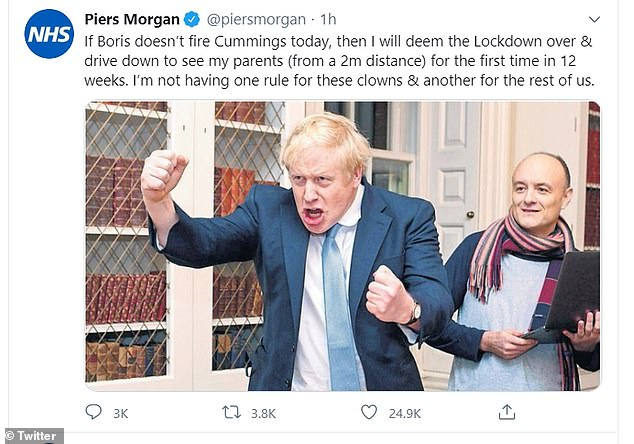 Piers Morgan has issued an angry ultimatum on Twitter to Boris Johnson over claims his chief aide, Dominic Cummings, broke lockdown rules by visiting his parents
