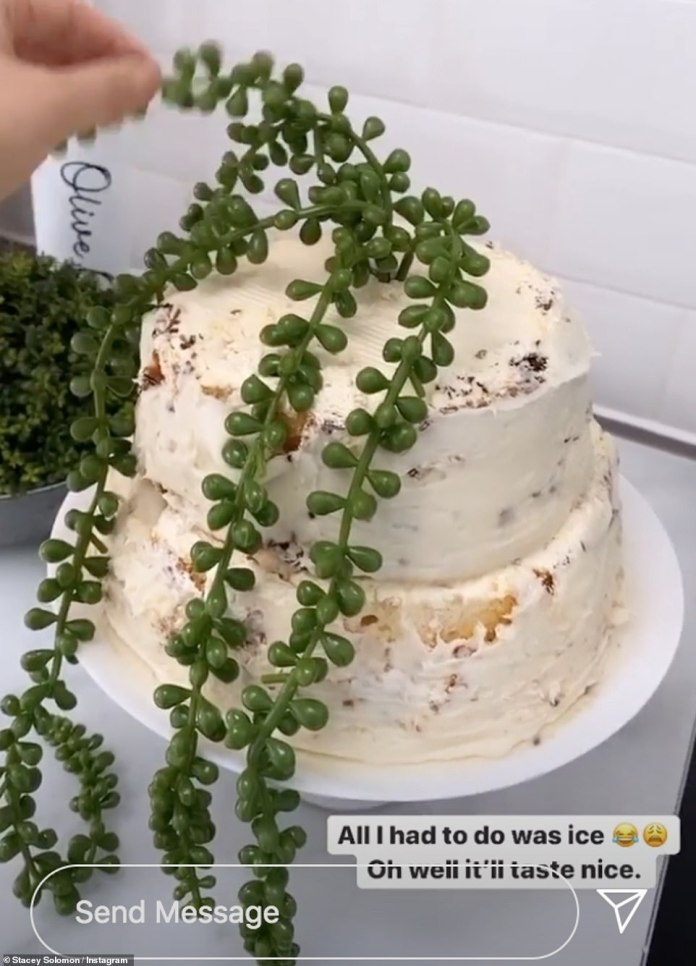 Yummy: She hilariously revealed that she attempted to use a potato masher to complete the job before giving up and using shop bought icing