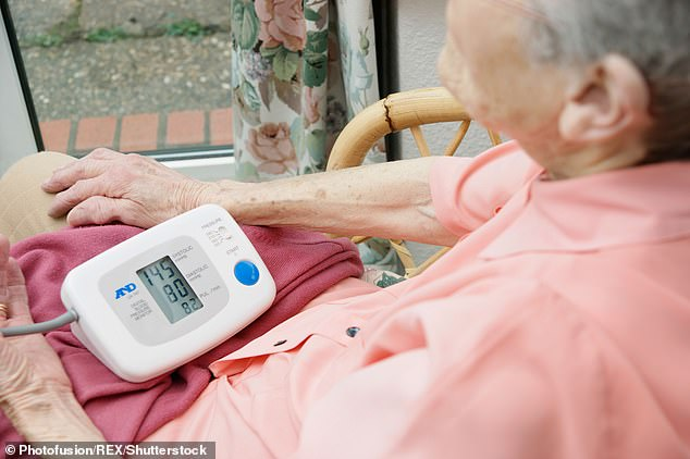 Routine health checks aren't happening right now, making it more important than ever to ensure that you're in good health (file photo of an elderly woman checking her blood pressure)