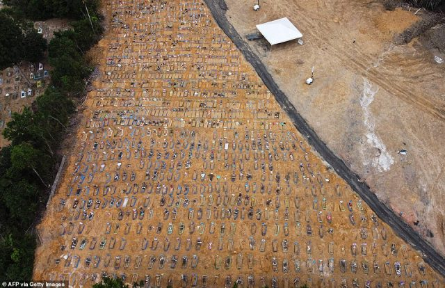Hundreds of mass graves were seen in Manaus, Brazil. Brazil is the hardest-hit South American nation in the coronavirus pandemic