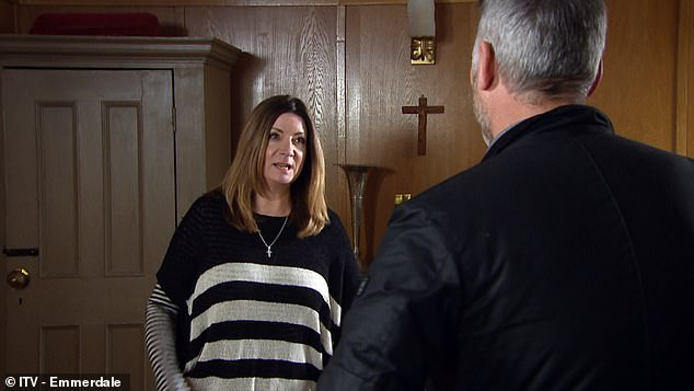 Missing out: Katherine, 55, engaged in a sexy scene with Mark Womack, who plays DI Mark Malone, (pictured in a recent scene together) but the racy scenes were left out of recording