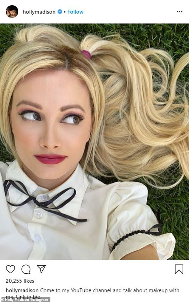 Creative:On Friday night, Holly took to her Instagram to share a selfie promoting her latest makeup oriented YouTube video
