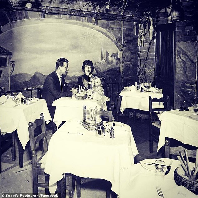 Beppi's is the oldest family restaurant in Sydney and was opened by a man named Beppi and his girlfriend in 1956 (pictured at the restaurant with their young son in the early 60's)