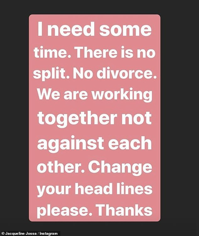 No divorce! Jacqueline took advantage of her Instagram stories on Sunday afternoon to fight back after the Sun said their marriage had become `` impossible to work '' during the lockout