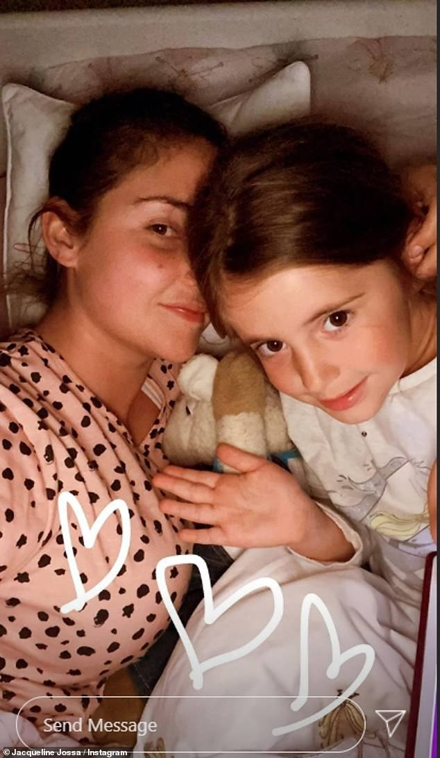 Family: On Sunday, Jacqueline returned to work to promote her range of pajamas and shared a selfie with her eldest daughter Ella, five.