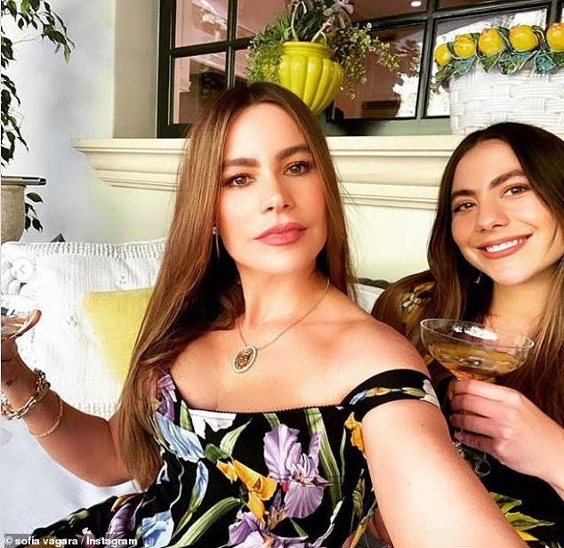 Additional guests: Sofia and Joe are locked up in their luxury villa in Italy with Sofia's son Manolo, 27, and his 26-year-old niece who looks like a niece; Sofia takes a picture with Claudia (right) on Friday