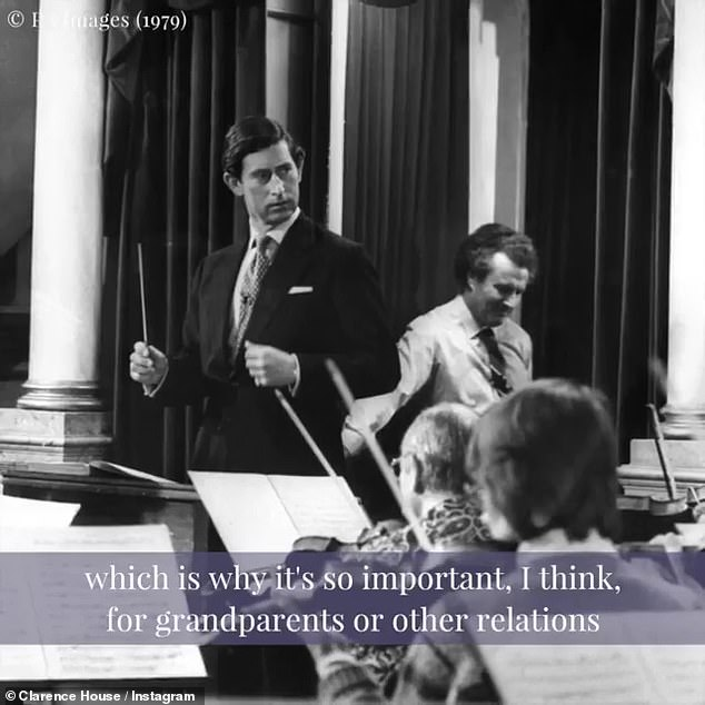 A young Prince Charles photographed in 1979 surrounded by musicians as he seems to be trying to conduct the orchestra