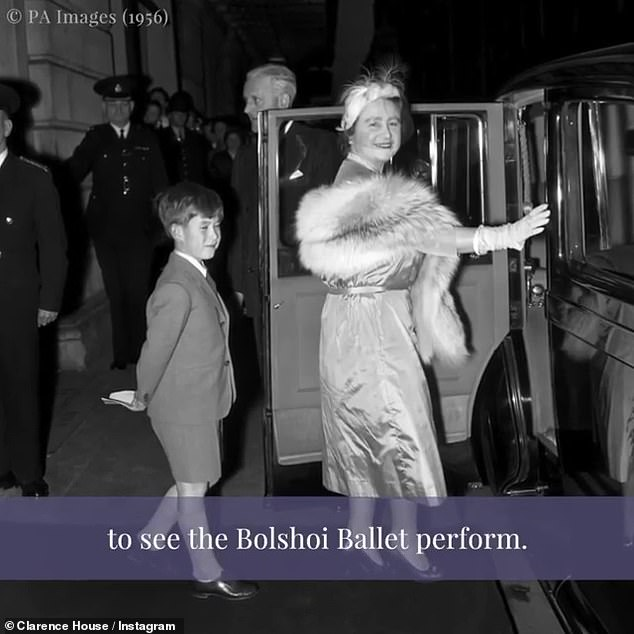 Prince Charles follows his grandmother, the Queen Mother, to their car after watching a morning performance of 'The Bakhchisarai Fountain' by the Bolshoi Theater Moscow Ballet at the Royal Opera House, Covent Garden, London in 1956