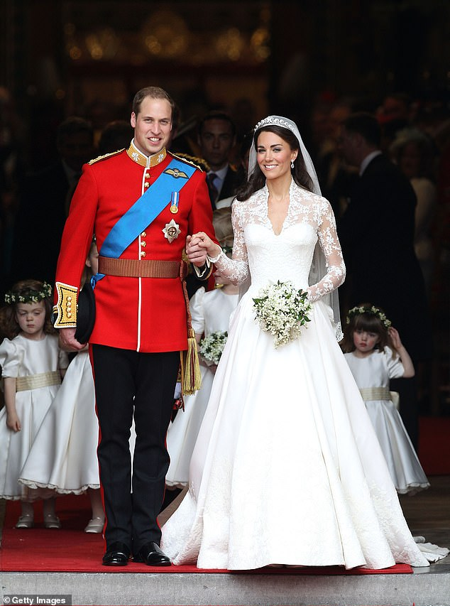 The Duke and Duchess of Cambridge smile after their wedding at Westminster Abbey on April 29, 2011 in London