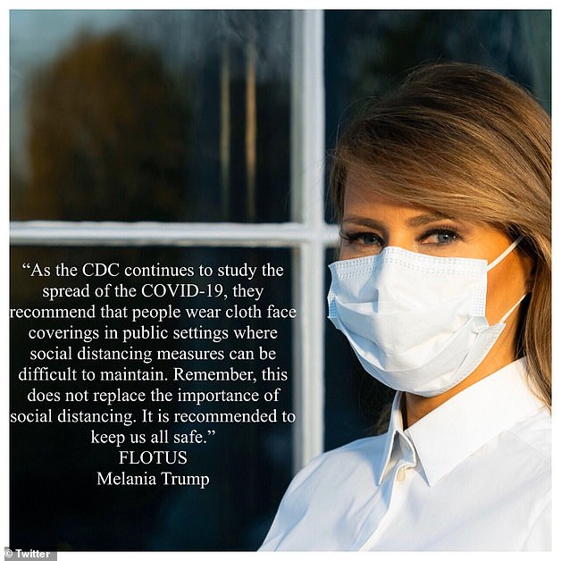 The first lady wore a face mask in a social media post to remind people of the importance of wearing them to help combat coronavirus