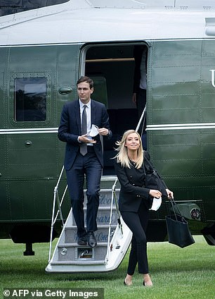 White House senior adviser Jared Kushner and White House press secretary Kayleigh McEnany took the mmasks off once they were off the chopper