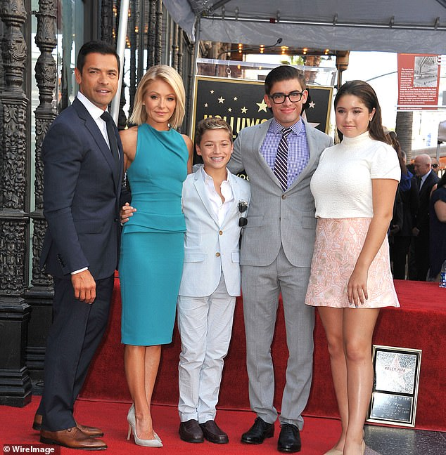 Kelly (pictured 2015) has been quarantining in the Caribbean with husband Mark Consuelos and their three children