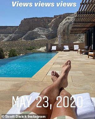 Monday - his 37th birthday - Scott shared a glimpse of his sight of Saturday while lounging by the pool - the same view that Kourtney Kardashian had shared a few days earlier