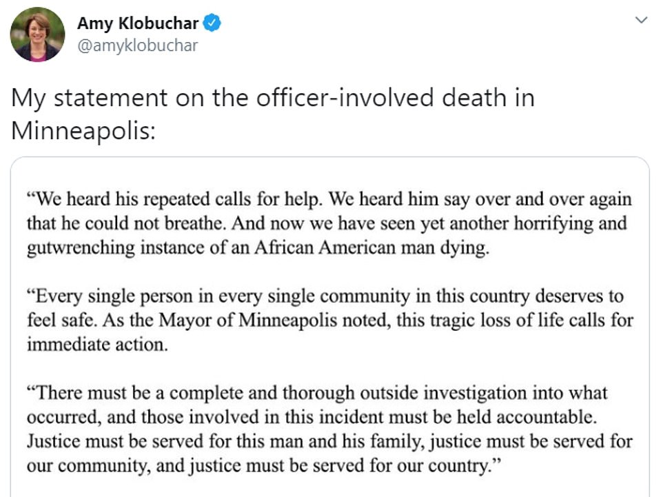 Kamala Harris, Amy Klobuchar and Minnesota Mayor Melvin Carter spoke out against Floyd's killing on Tuesday, calling for the police officers to be held accountable
