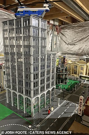 A Lego skyscraper, one of the taller buildings in the model city