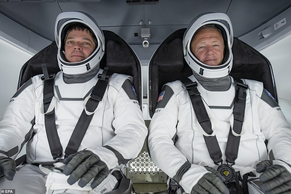 Behnken (L) and Hurley participating in a test at a SpaceX processing facility on Cape Canaveral Air Force Station in Florida in March