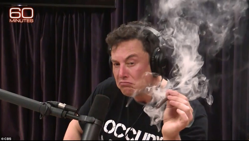 Musk raised eyebrows when he appeared on the Joe Rogan Experience last year,where he accepted a marijuana blunt from the host and then puffed on it