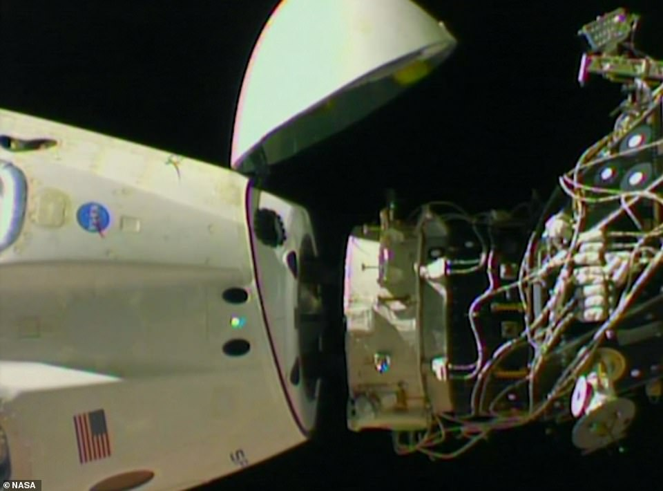 The Dragon crew capsule last year pulling away from the ISS, a test dummy named Ripley its lone occupant, with NASA filming the historic moment. This image shows the capsule moments after releasing from the station