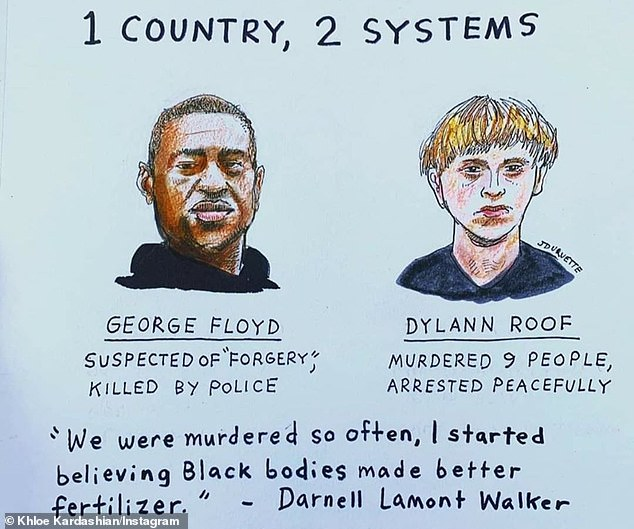 '1 COUNTRY, 2 SYSTEMS': Another of his messages was side by side drawings of Floyd and Dylan Roof, a white supremacist convicted of killing nine people in a black church