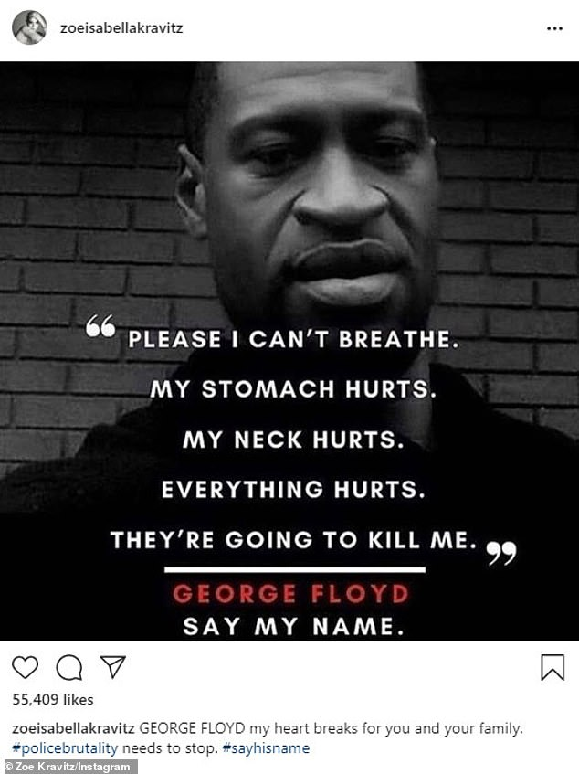 Grief: 'GEORGE FLOYD my heart is breaking for you and your family. #policebrutality must stop. #sayhisname ', wrote Kravitz