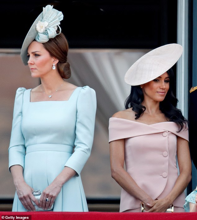 Kate and Meghan stand on the balcony of Buckingham Palace during the color parade on June 9, 2018