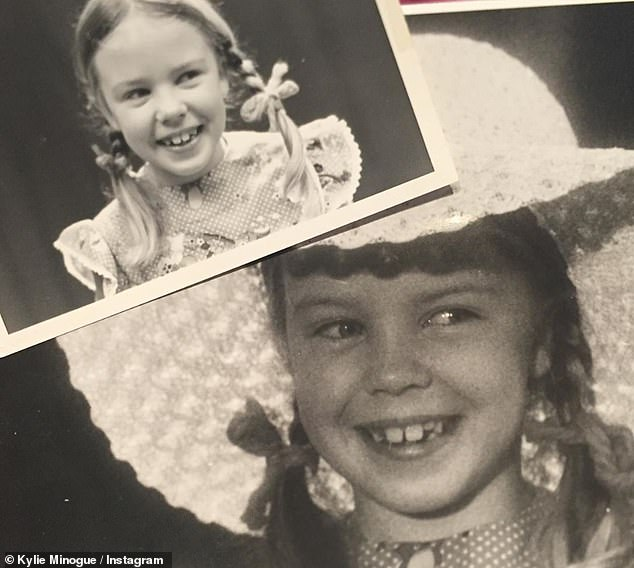 Looking back: Kylie Minogue took her fans on a journey to the past by sharing snapshots of herself during her 52nd birthday on Thursday