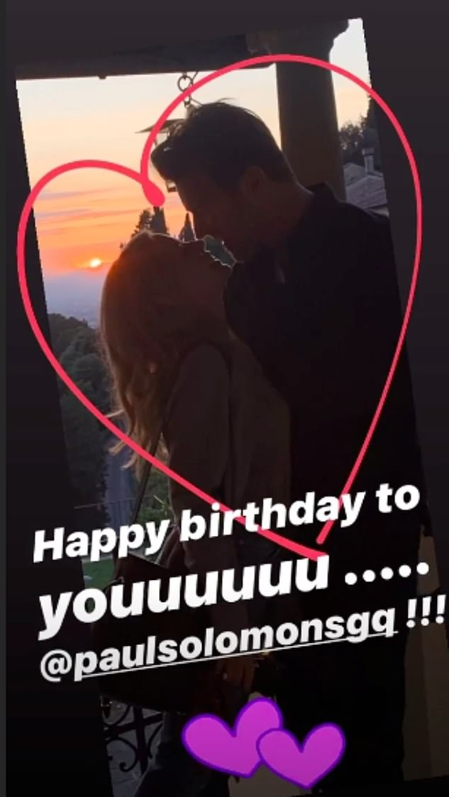 Loved-up: Kylie also shared the same image on her Instagram story, framed with a loving heart next to the message: 'Happy birthday to yooooouuu ... @paulsolomonsgq !!!'