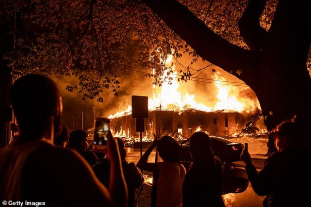 Several buildings were set on fire during the violent protests, including an apartment building which was under construction