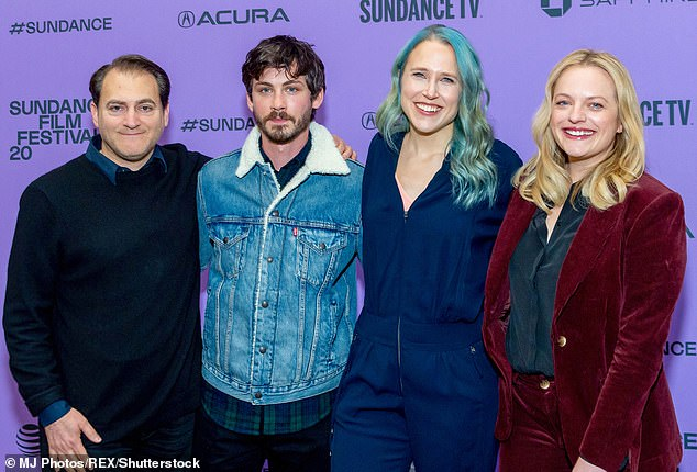 Indie pic: Shirley premiered at the Sundance Film Festival back in January where it won the U.S. Dramatic Special Jury Award for Auteur Filmmaking. Pictured:  Michael Stuhlbarg, Logan Lerman, Josephine Decker and Moss