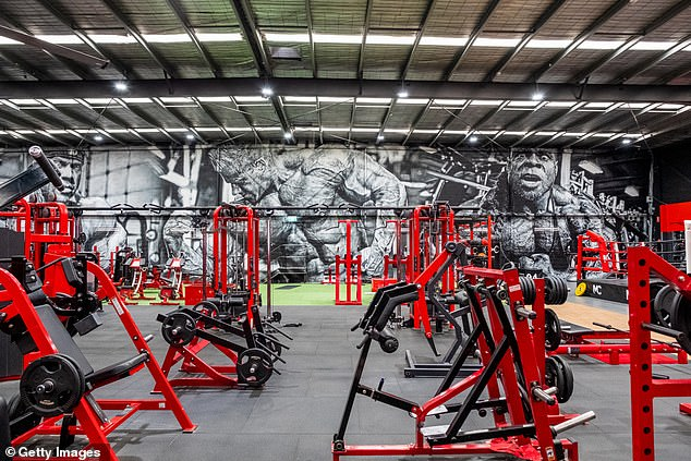 The relaxed lockdown laws will allow gyms and health clubs to operate as normal and permit up to 300 patrons inside a large venue. Pictured: An empty Melbourne gym in March