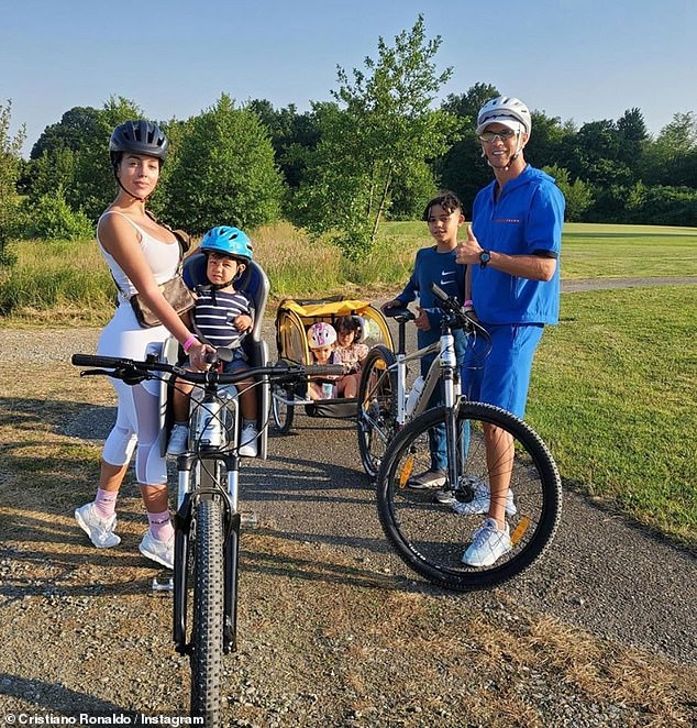 Together: It comes after Cristiano took a little while enjoying a family bike ride on Thursday