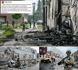 Minneapolis Looks Like a War Zone as Shocking Photos Show City in Ruins at End of the Third Night of George Floyd Death Protests