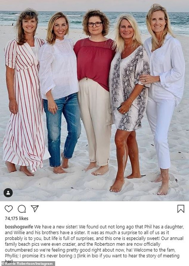`` Life is full of surprises, and this one is particularly sweet! Sadie's mom Korie also wrote a sweet message next to the photo, which featured her new sister-in-law Phyliss in the center
