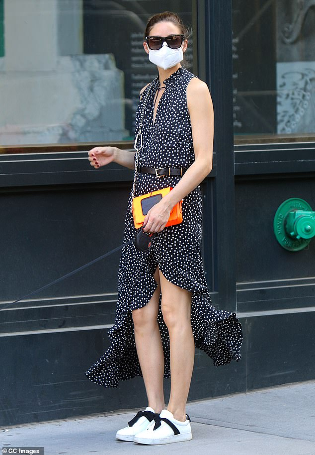 Fashionista: Olivia Palermo married safety in style on Saturday when she came out in NYC wearing an N95 face coordinated with spots on her dress.