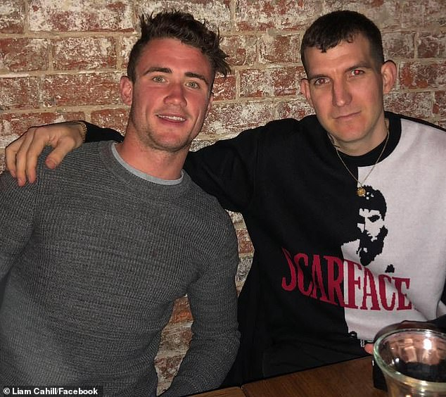 Liam Cahill (pictured left) a popular young apprentice plumber from Pascoe Vale, Melbourne, was allegedly stabbed to death on Saturday night in front of horrified party goers