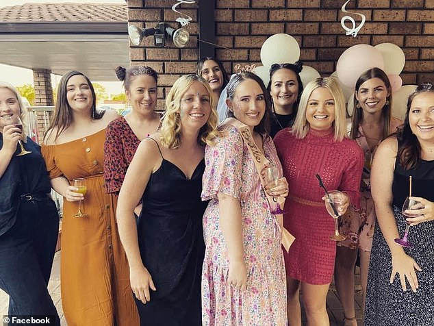 Lauren Prothero and Paige Ward are pictured together with friends before Ms Ward's January wedding