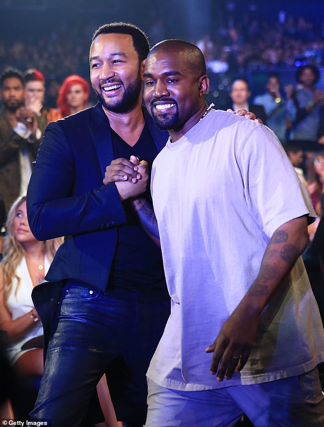 Drifted: John Legend has revealed he was 'never the closest of friends' with Kanye West and their long-time bond was purely centered around music and creativity, not personal life (pictured 2015)
