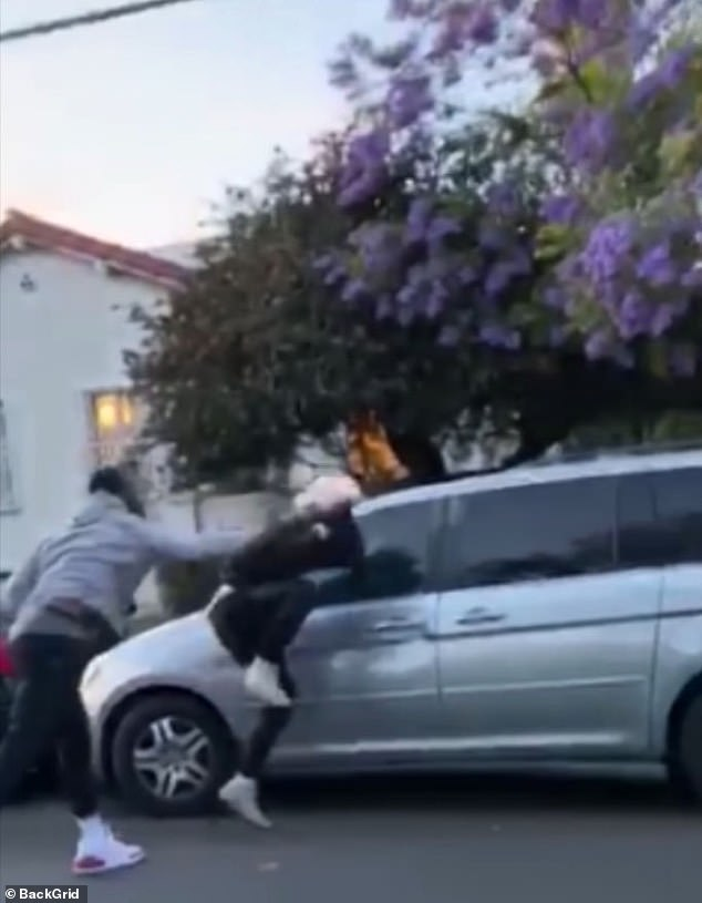 Smith pictured punching the protester who allegedly vandalized his truck above. He said he saw the man attack his car not knowing it was his, and chased him down