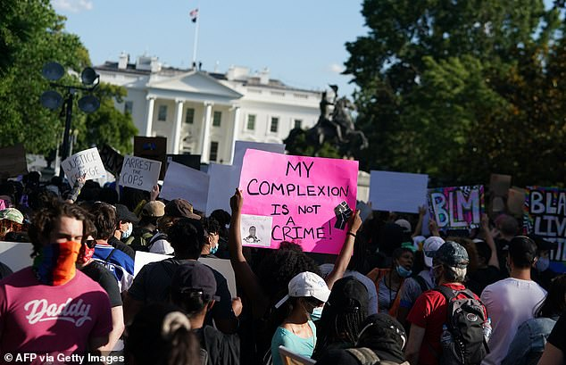 A protester standing in front of the White House holds a sign which reads: 'My complexion is not a crime!'