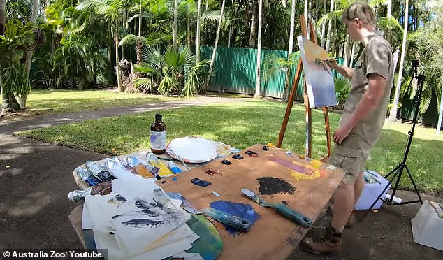 Inspired: In the video posted on Australia Zoo's YouTube account, Robert stated that he wanted to try his hand at oil painting after feeling inspired by American artist Bob Ross