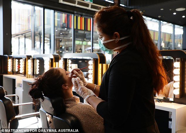 Women have flocked back to their favourite makeover salons, with the lifting of restrictions meaning up to 20 people are now allowed inside a store. Pictured: Indian Beauty Secrets at The Ponds Shopping Centre