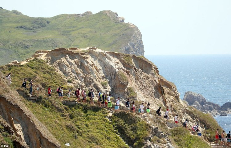 Despite the crowds being forced to group together following Saturday's incident, people continue to flock to Durdle Door today