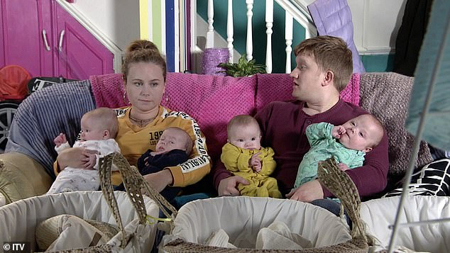 Hands on:Sam, whose character Chesney is parenting quads on the popular ITV soap, said he and Briony would love a big family but admitted they were glad they were just expecting the one child